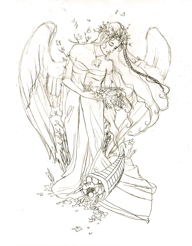 Angel of Autumn Preliminary Drawing by Angela R. Sasser