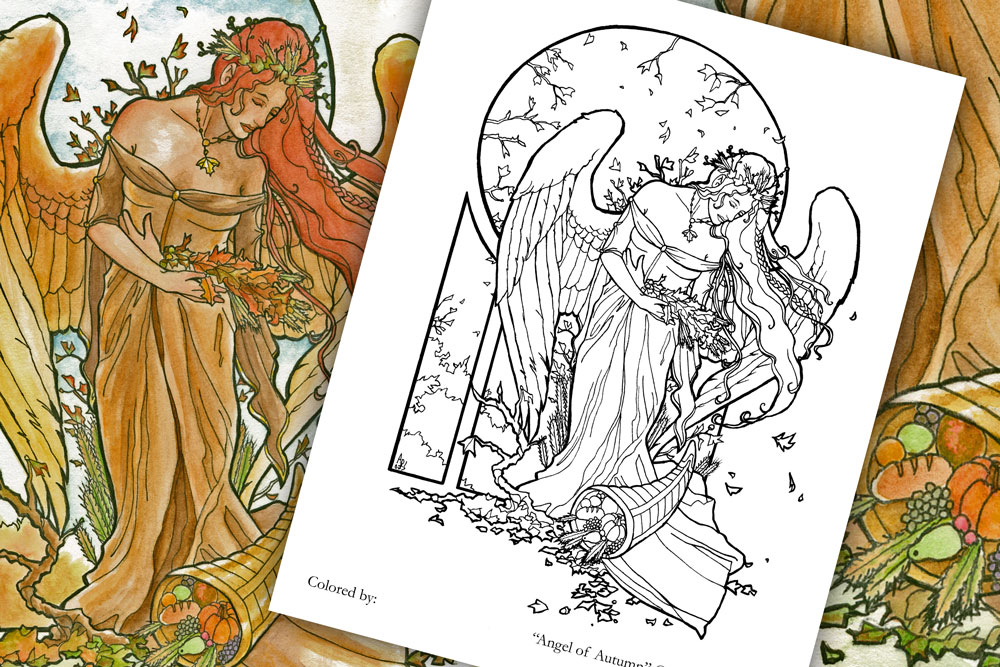 Coloring Page - Ange of Autumn